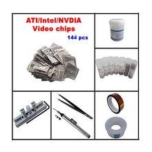 Pochoirs GPU INTEL/NVIDIA/ATI à chaleur directe 144 pièces + station de recharge de chaleur directe + billes BGA + flux de soudure