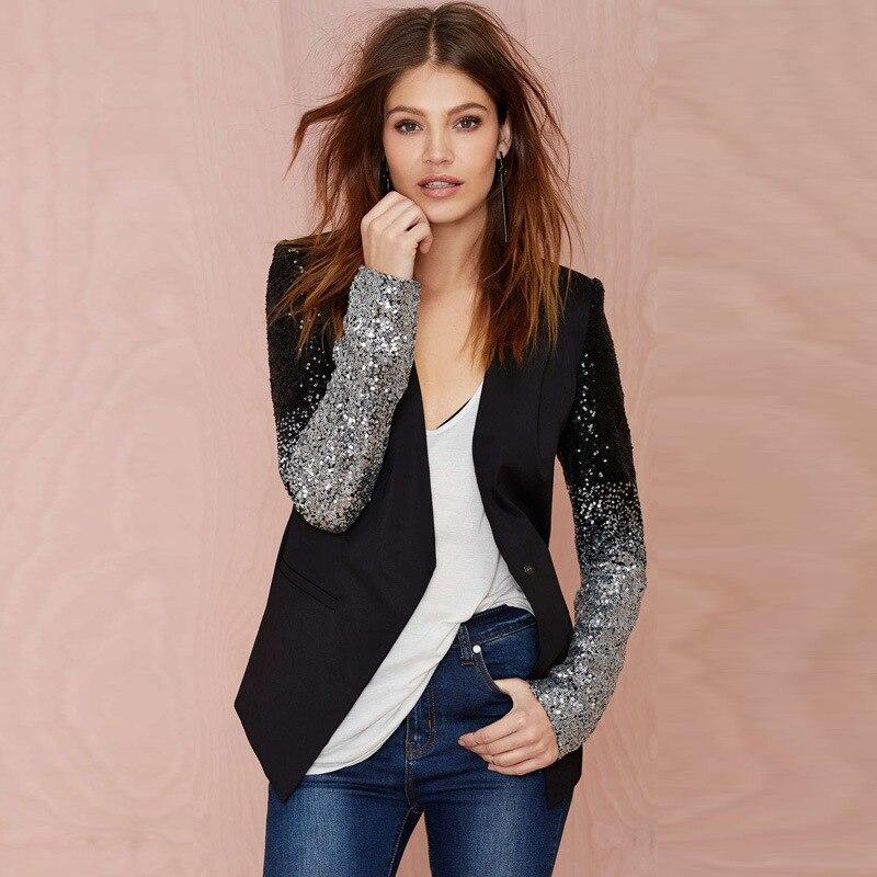 Spring Autumn New Women Slim Patchwork Black Silver Sequins Jacket Fashion Full Sleeve Blazer Female Suit Outwear Plus Size 4XL