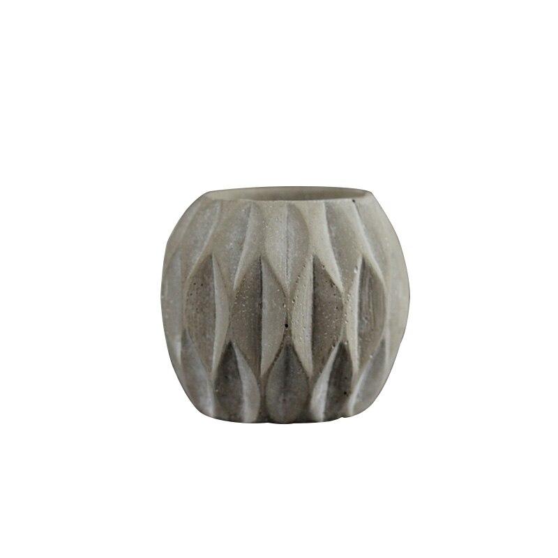 Molde de cemento de silicona, molde de macetero de hormigón, bolígrafo de rayas redondas, barril, herramienta de decoración de escritorio
