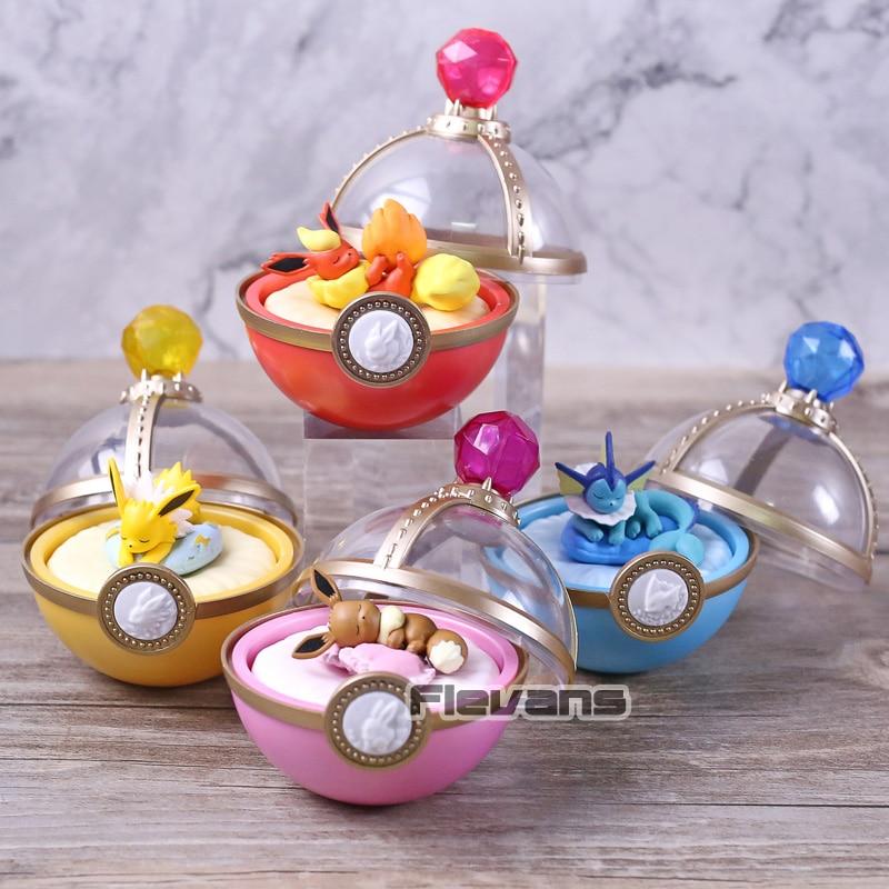 Soñando caso Eevee Jolteon Vaporeon Flareon Mini figuras de PVC de juguete muñecas 4 unids/set