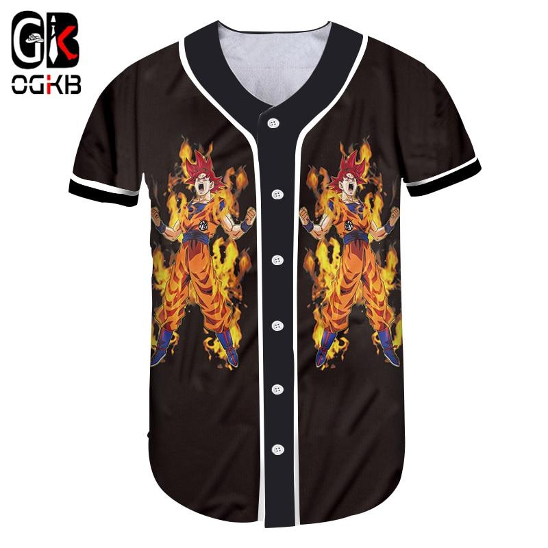 OGKB 2018 Summer Cool Button Tshirt Men/Womens Funny Print Dragon Ball Z 3d T-shirt Anime T Shirts Short Sleeve Baseball Shirts