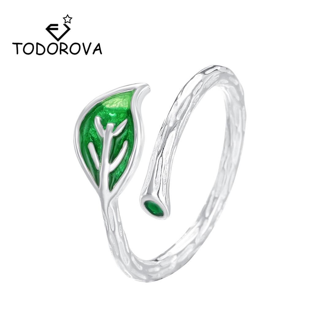 Женские регулируемые кольца Todorova, вечерние открытые кольца с зеленой глазурью и листьями, Простые Модные ювелирные украшения