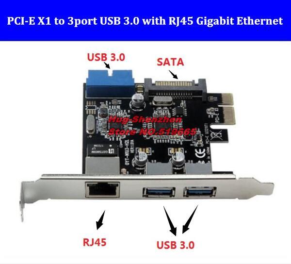 PCI Express PCIE PCI-e X1 do 2 portów USB3.0 + 19/20 Pin USB 3.0 z RJ45 Gigabit sieci karta portu do komputera stacjonarnego