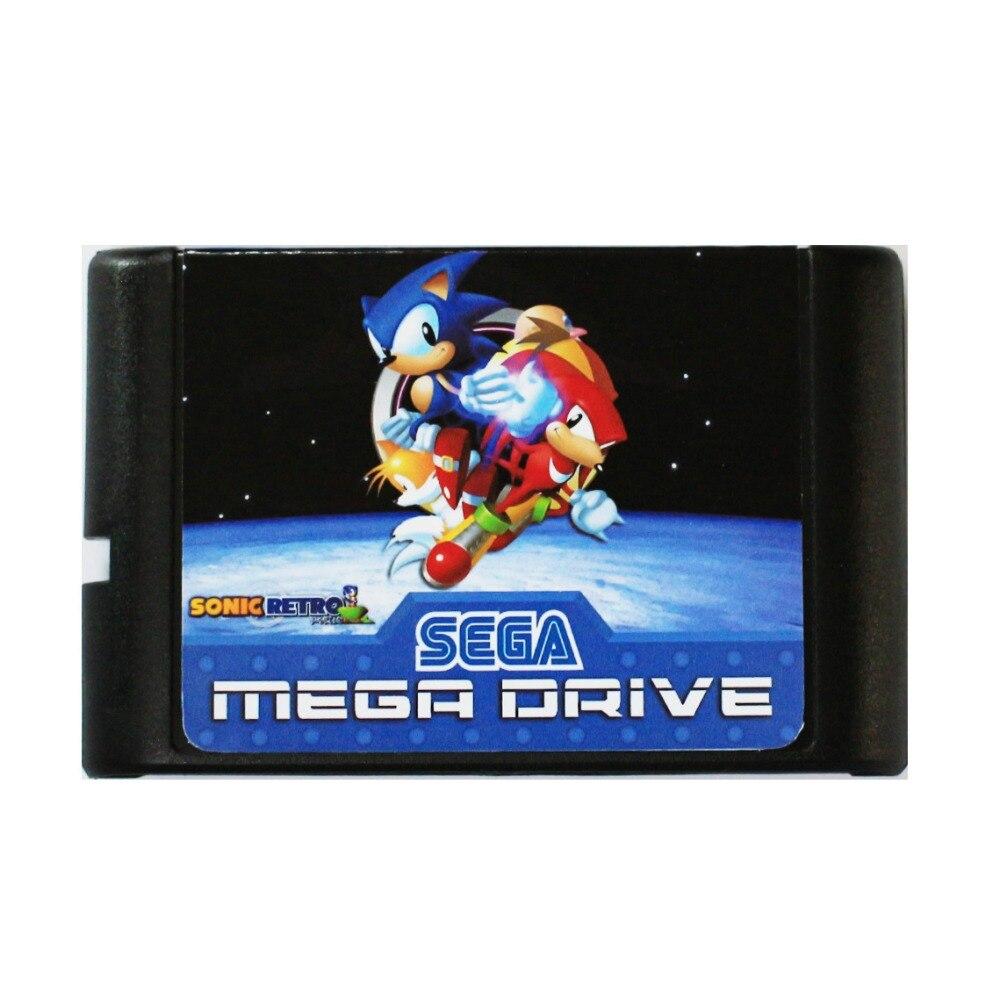 Sonic clásico héroes 16 bit tarjeta de juego MD para Sega Mega...