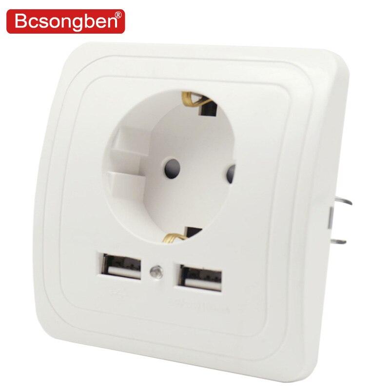 Bcsongben de puerto Dual USB adaptador/cargador de pared de carga 2A adaptador/cargador de pared de enchufe de la UE del zócalo de salida plata blanco negro