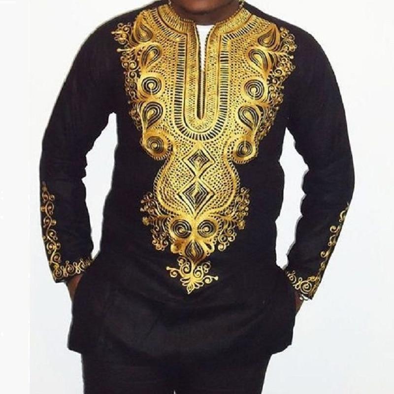 African Dashiki Print T Shirt Men 2018 Fashion Long Sleeve V Neck T-shirt Male Hip Hop Streetwear Tops Tee Shirt Homme Camisetas