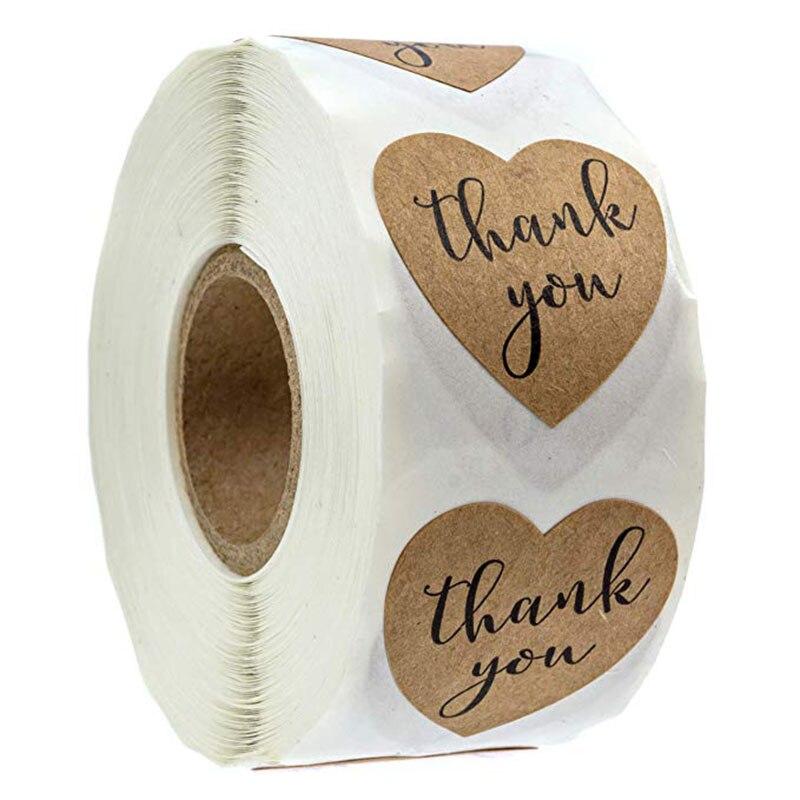 Cozinha de casa acessórios de decoração de casamento adesivos Folha marrom Obrigado por Sua Compra presente tags/500 Etiquetas/Rolo 1 polegada