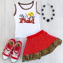 2018 marke Neue Kleinkind Infant Kind Kinder Baby Mädchen T-Shirts Weste Leopard Röcke 2 stücke Outfits Baseball Gedruckt Set 1 -5 jahre