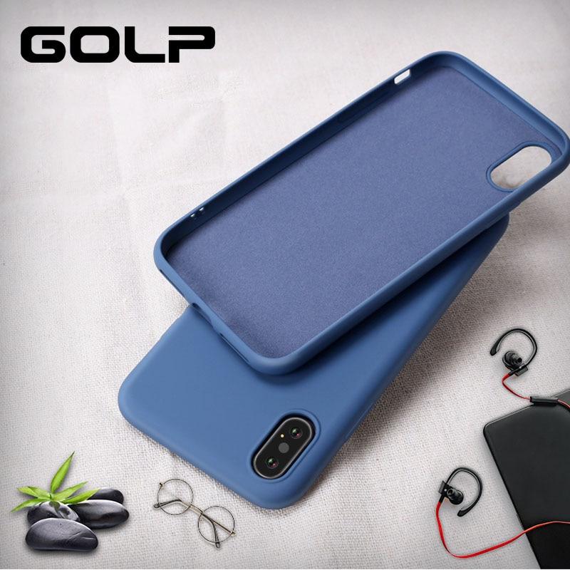Funda de teléfono de silicona suave para iPhone 7 8, GOLP funda de TPU suave mate para iPhone 6 6S Plus X XS MAX XR