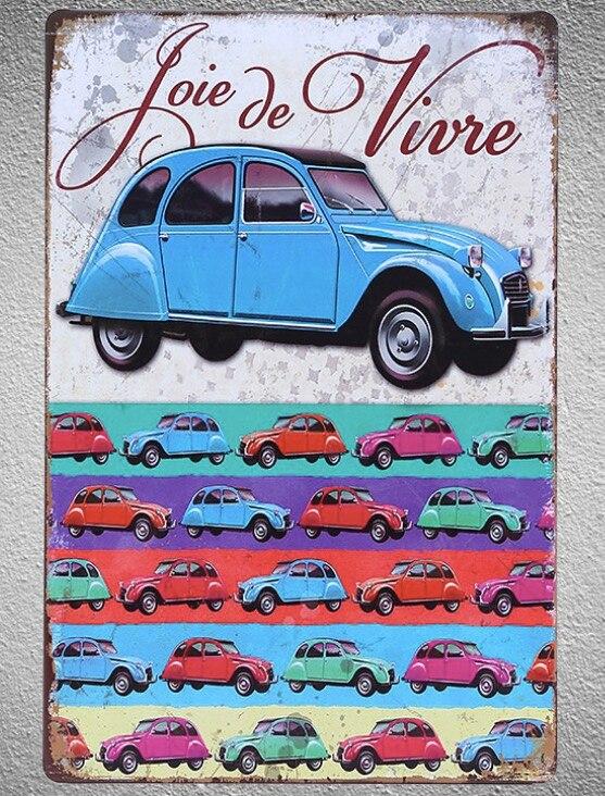 Franse OUDE Antieke Auto 2 CV joie de vivre Garage Winkel blikken Borden muur man cave Decoratie Art retro vintage Poster metalen
