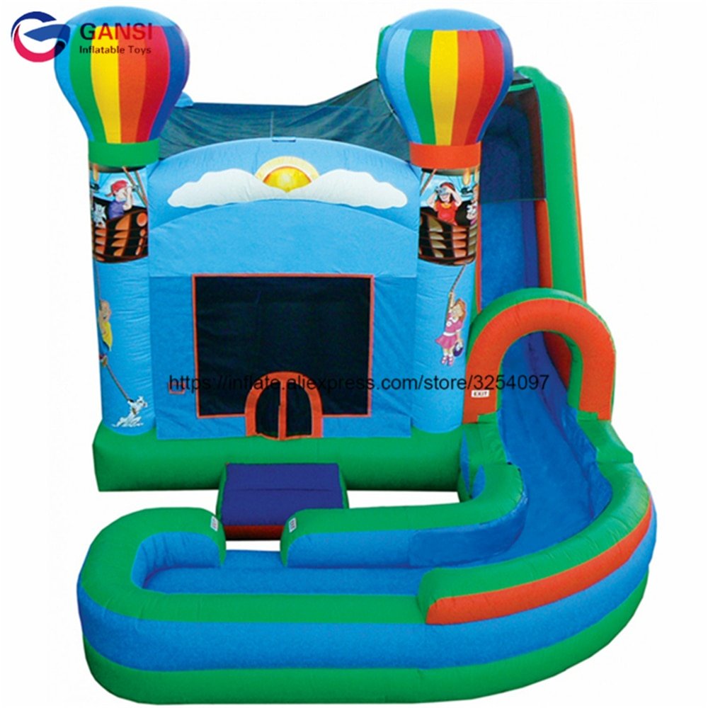 Free air blower bouncy jumping castle house with long slide inflatable trampoline bouncer custom color inflatable bouncy house yard bouncy castle inflatable jumping castles 3 5 3 2 7m trampoline for children house inflatable bouncer with slide blower