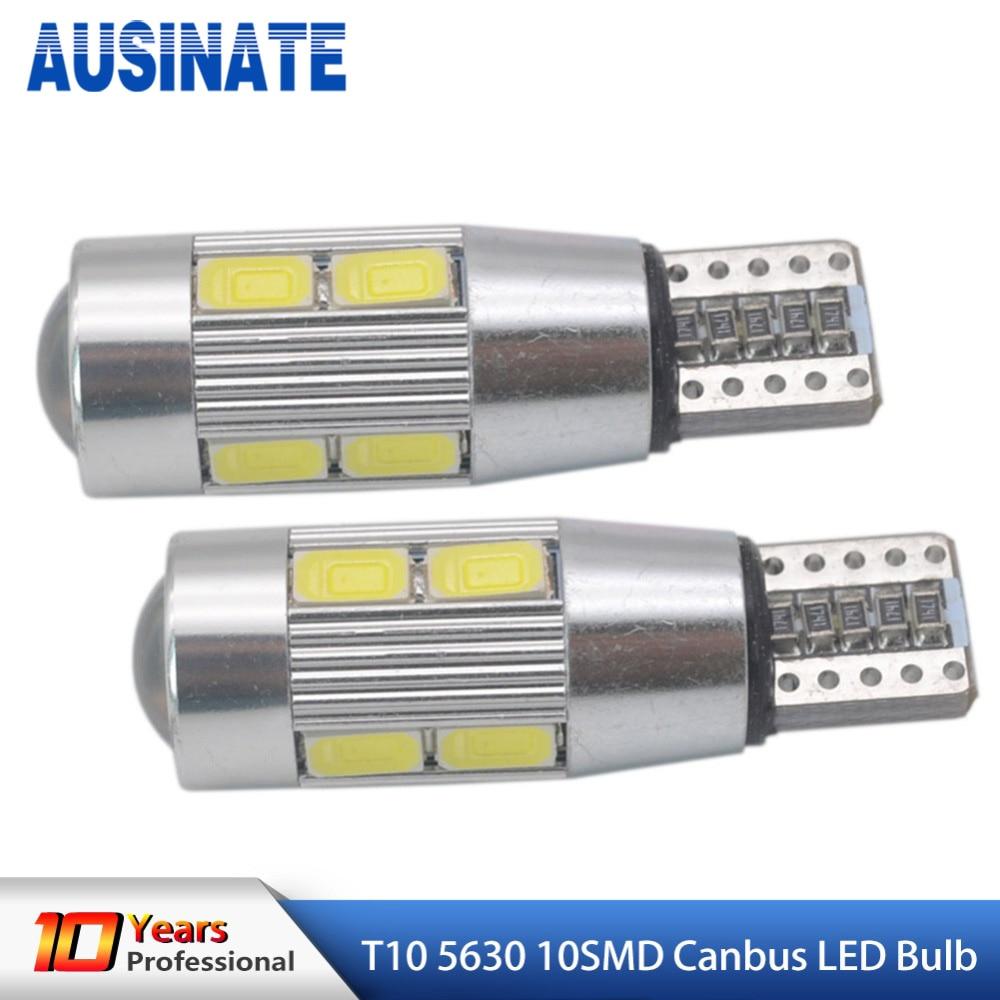 2 uds T10 bombilla LED 194 W5W 10 SMD 5630 Led Auto lámpara de coche Canbus No Error aparcamiento lateral luz 12V blanco azul Iceblue