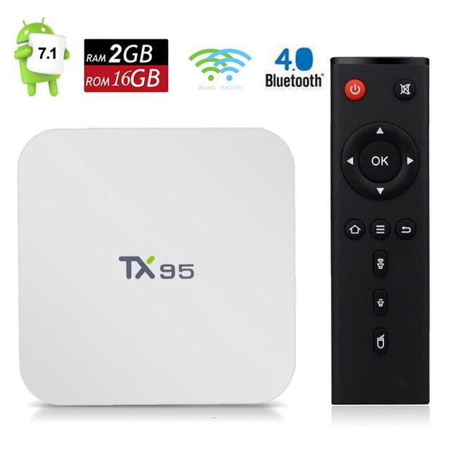 TX95 Dispositivo de TV inteligente Android 7,1 2GB 16GB Amlogic S905W Quad Core WiFi de doble banda Bluetooth Media Player blanco TVbox cajas DHL 20 piezas