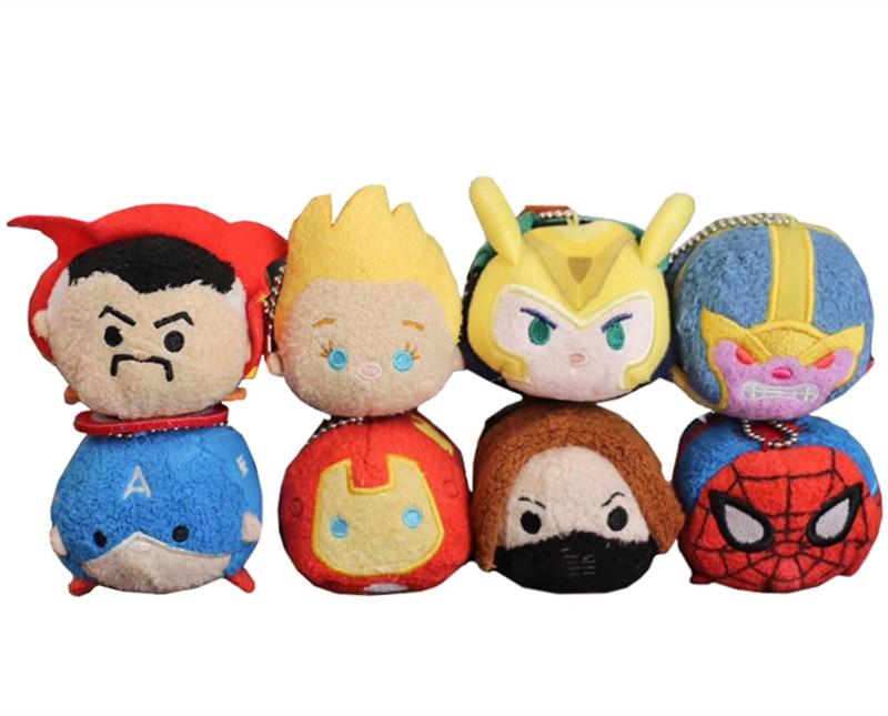 Mini Plush Stack Toys Set of 8 Captain America Iron Man Soldier Doctor Strange Loki Spiderman Smartphone Screen Cleaner Boys Toy