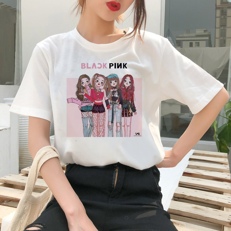 Blackpink T camisa camiseta Harajuku matar a este amor LISA JISOO JENNIE 90s de dibujos animados camiseta mujeres Tee Top moda mujer Ullzang