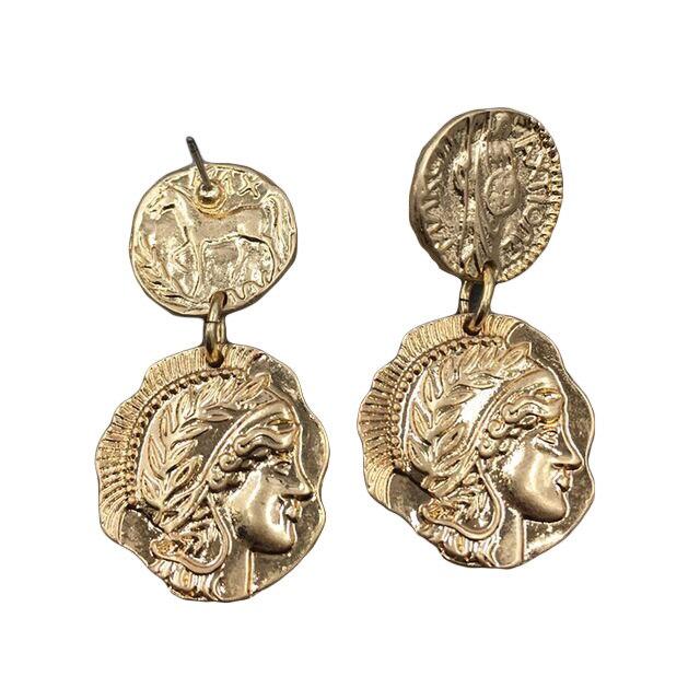 Женские серьги-капельки в стиле ретро, с гравировкой в виде монет, золотистого цвета, для вечеринок