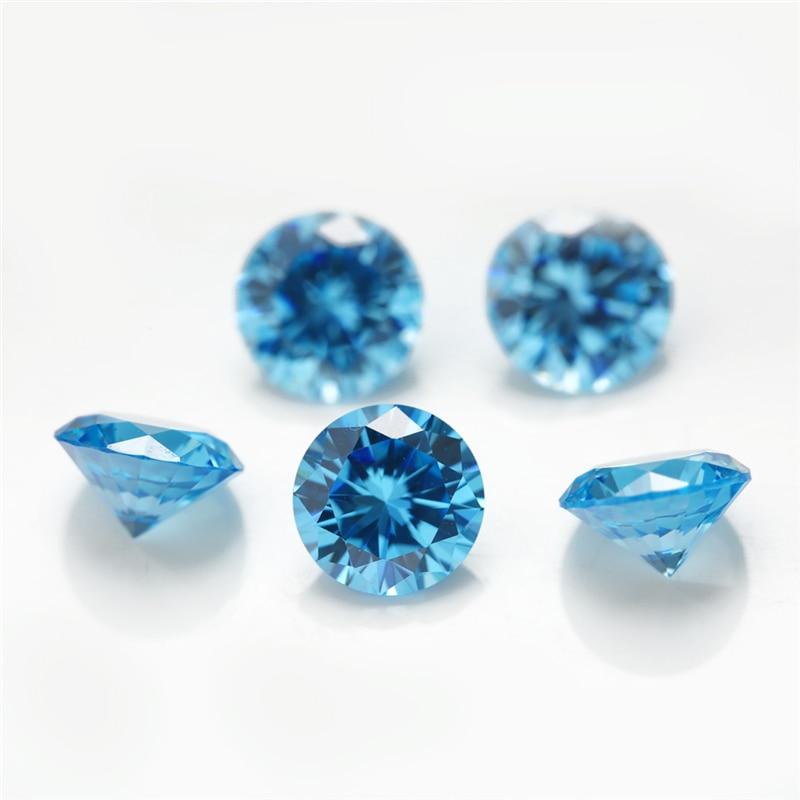 Размер 1 ~ 10 мм 5A морской синий цвет CZ камень круглой формы кубический цирконий камень синтетический камень для продажи