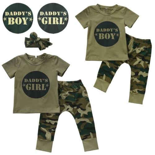 Camuflaje bebé DADDYS niños niñas ropa camiseta para recién nacido Tops pantalones trajes conjunto ropa Casual