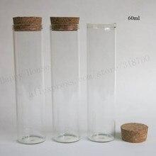 20X60 ml tubos de vidrio con corcho de madera de 2 oz de corcho tapón de tubo de botella de vidrio vacía botella de tapón de corcho tubos de envase cosmético