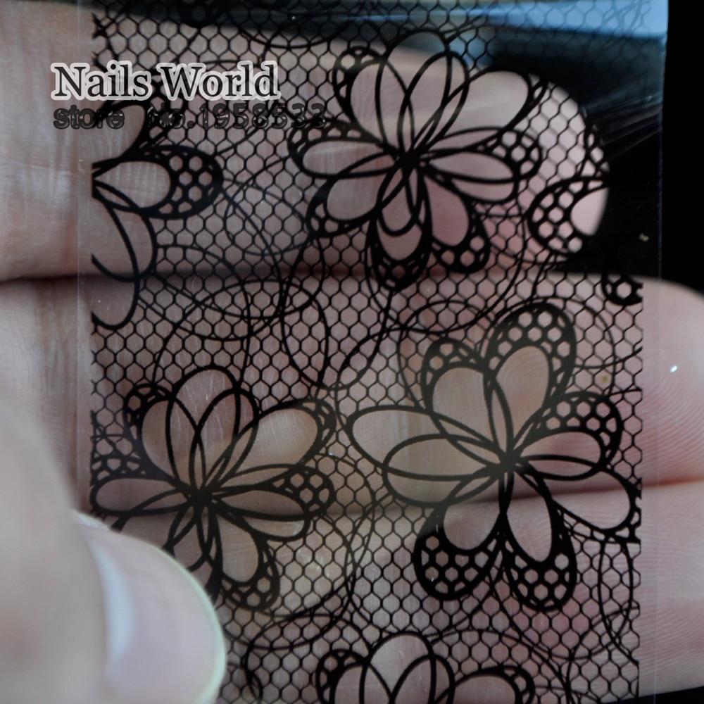 Art Nail Foils Wraps Glue Transfer Roll Sticker Hollow flower Nail DIY Tips Decoration 223