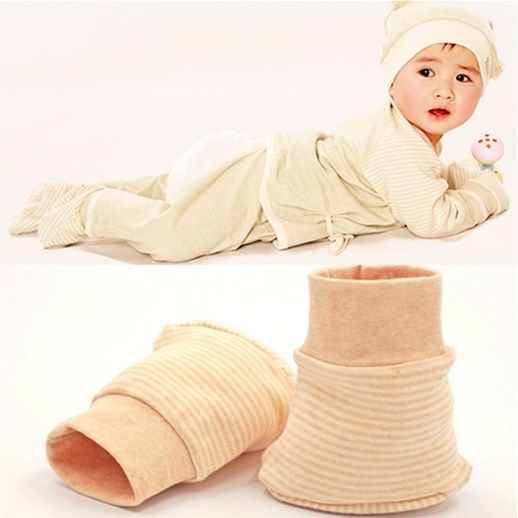 Nuevos guantes antiarañazos de algodón orgánico natural para bebés recién nacidos, guantes antiarañazos seguros de calidad, guantes informales suaves para bebés