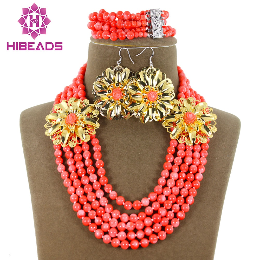 Romantic African Nigerian Wedding Coral Beads Jewelry Set Costume Coral Beads Jewelry Set Hot Sale Free Shpping CJ049