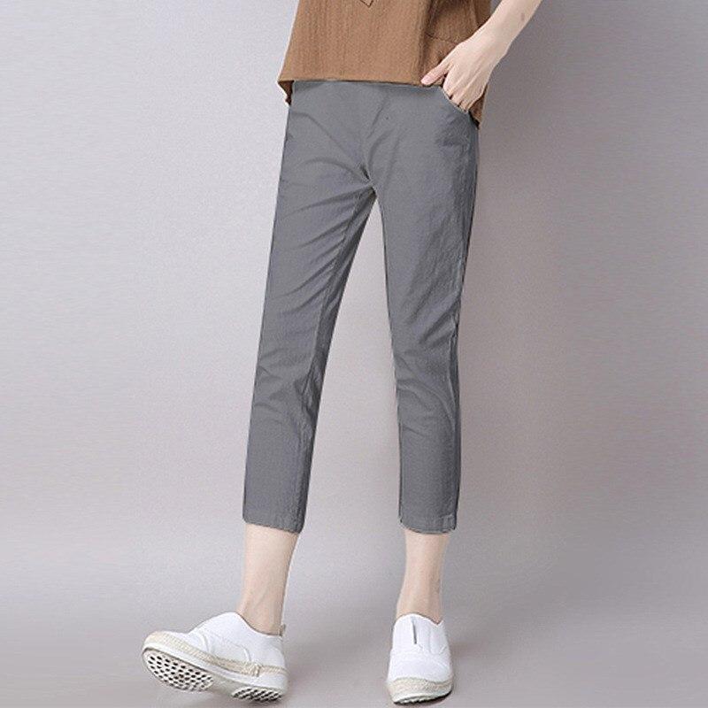 Pantalones de talla grande a la moda de verano de 2019 para mujer, Pantalones anchos holgados informales ajustados de tubo, pantalones lisos de algodón y lino hasta el tobillo para mujer