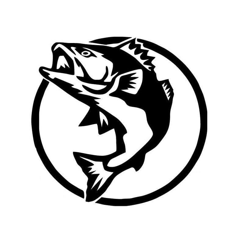 13.5*13CM Fishing Hunting Sports Fish Animal Car Sticker Window Decoration Vinyl Decal Black/Silver C4-0745