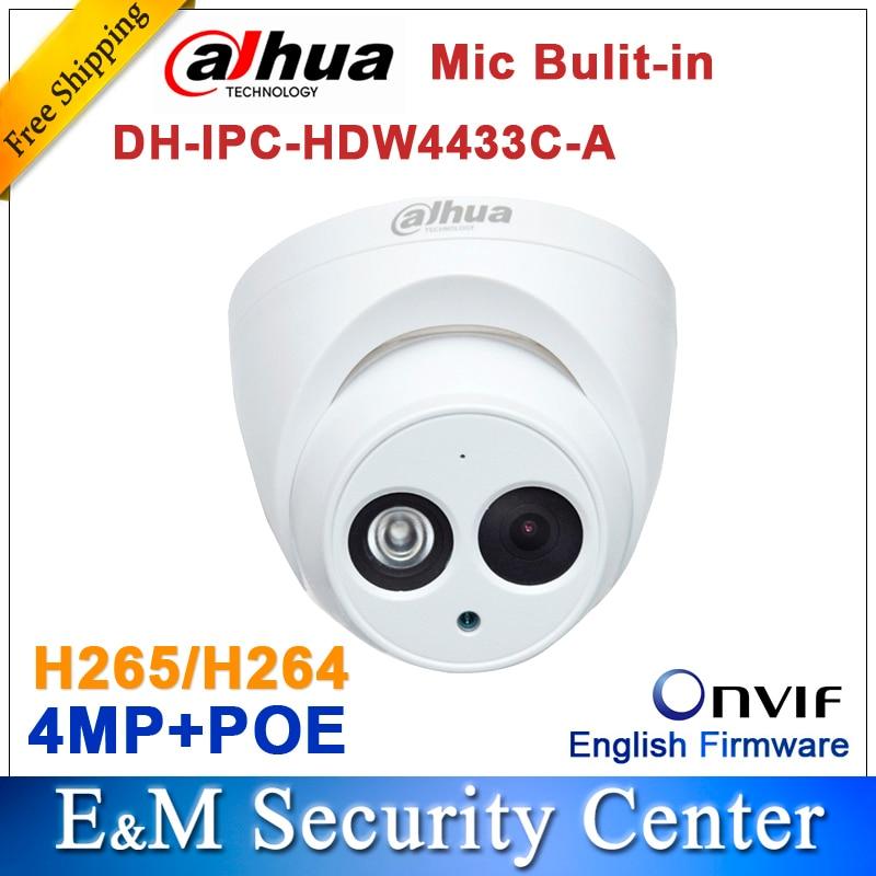 Original dahua IPC-HDW4433C-A reemplazar IPC-HDW4431C-A 4MP Cámara IP de red IR POE CCTV Mic construido-en mini cúpula