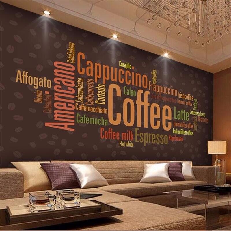 Papel de pared personalizado beibehang 3D foto mural wallpaper-3d Tema de Cafetería Restaurante decorado alfabeto papeles tapiz decoración del hogar