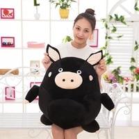 hot 1pcs 20cm 60cm c black pig plush toys fat brown pig cloth doll round sphere pillow cushion birthday gift childrens gift