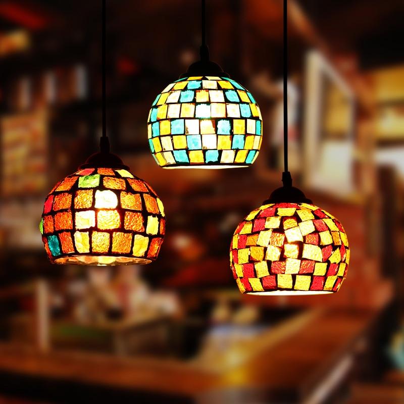 Artpad المغرب ديكور التركية فسيفساء مصابيح غرفة نوم فندق بار مطعم قلادة أضواء E27 LED زجاج ملون معلقة مصباح