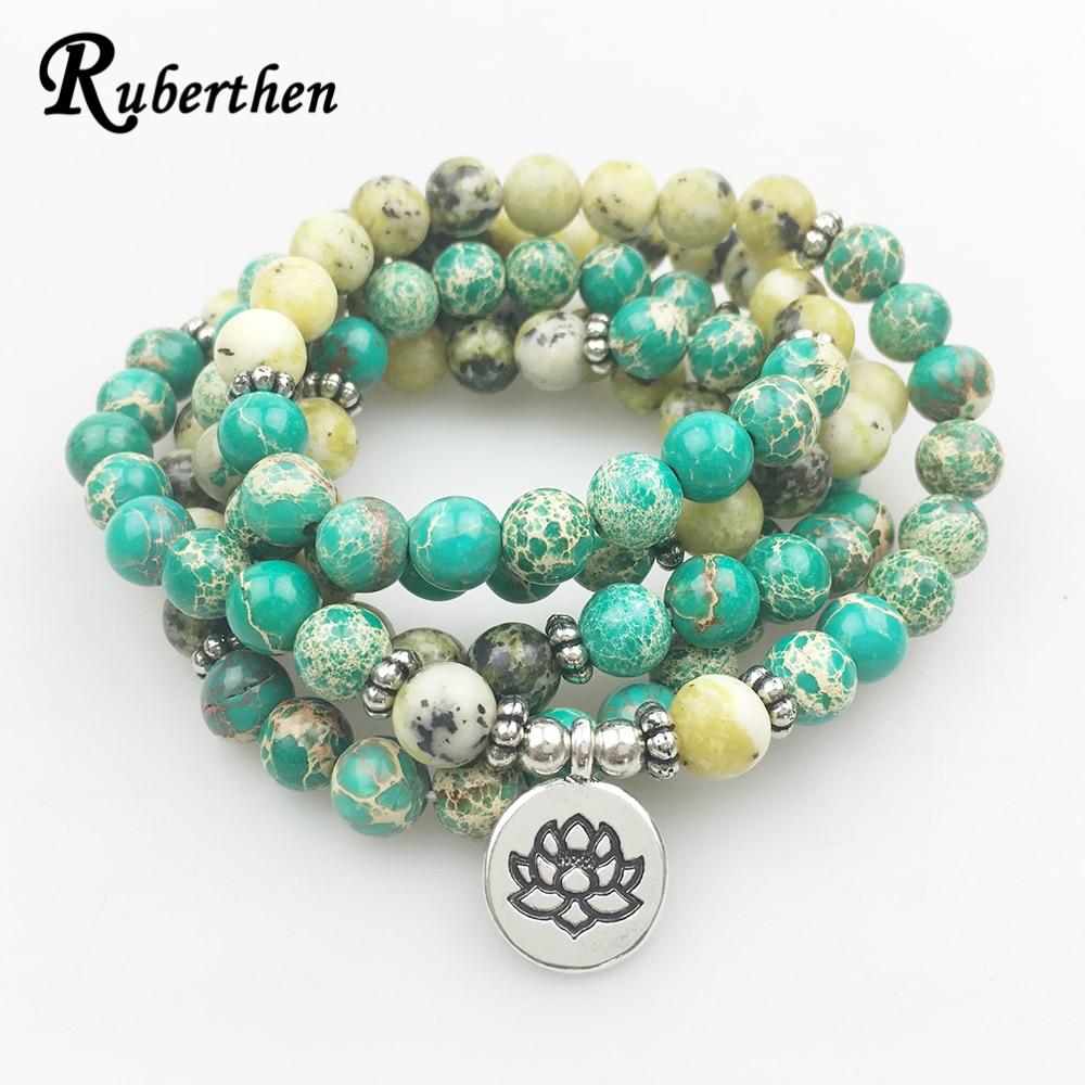 Ruberthen Yellow Howlite 108 Mala Yoga Bracelet  Women Natural Stone Yoga Jewelry Meditation Jewelry Free Shipping