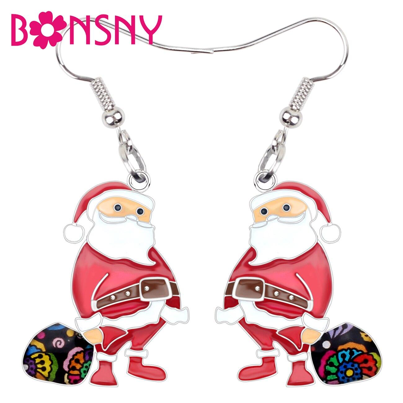 Bonsny Declaração Liga Esmalte Natal Papai Noel Saco de Brincos Gota Dangle Jóias Novidade Para As Mulheres Meninas de Partido Presentes Bijoux