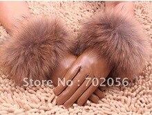 Fox fur lambskin Gloves skin gloves LEATHER GLOVES Warm Fashion #2420
