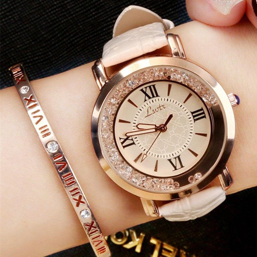 Модные женские часы, Роскошные наручные часы с кожаным ремешком, повседневные кварцевые часы стразы, женские наручные часы, женские часы