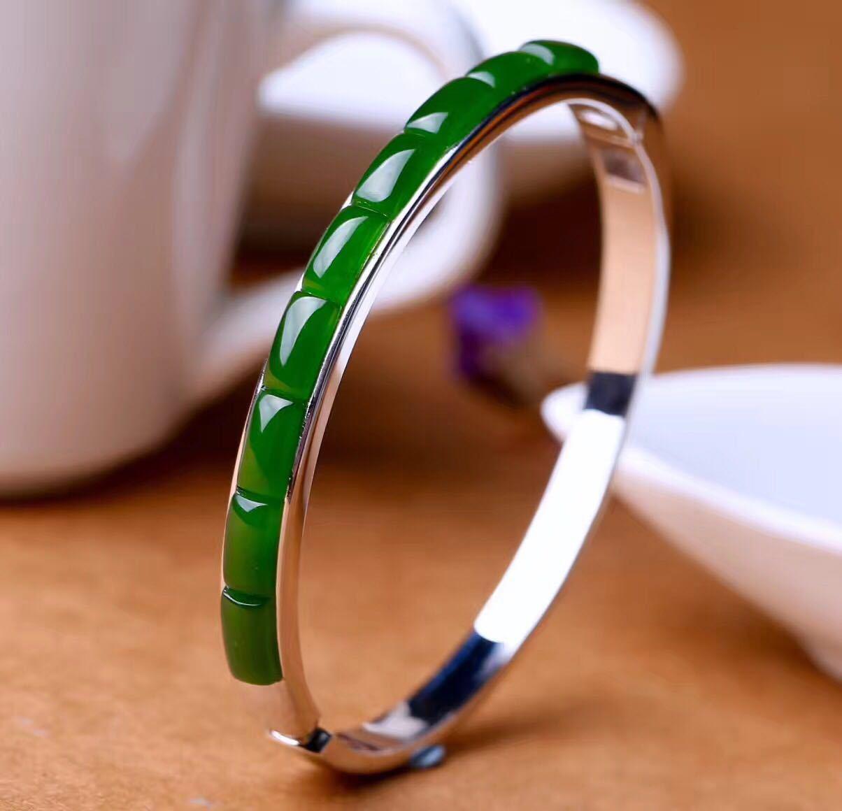 2018 promoción limitada pulsera de mujer Ms S925 pura joyería de moda Boutique personalidad Natural pulsera de Jade de hetian con certificado