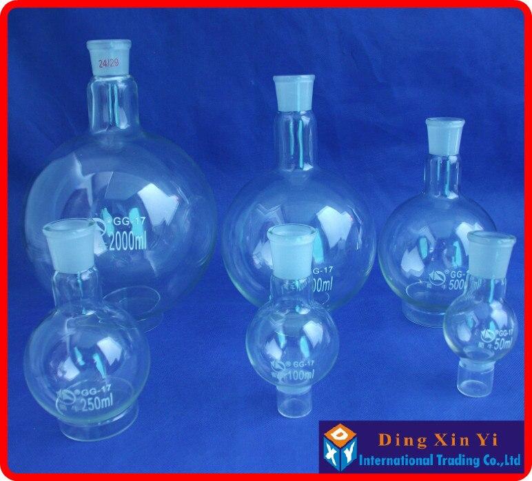 50/100/250/500/1000/2000ml 24/29 frasco de fundo redondo de pescoço único, frasco de ebulição, boca à terra padrão de pescoço curto