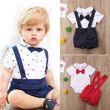 Emmababy Newborn Kid Baby Junge Outfit Kleidung Bogen Romper Overall + Hosen Gentleman 2 stücke Set Kinder Kleidung