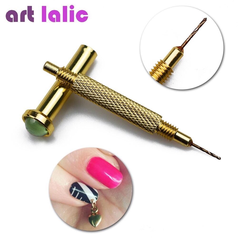 1 pieza para decoración de uñas, mano colgante, agujero de taladro, marcador de punteado, bolígrafo, Piercing, herramienta profesional para manicura, arte de uñas, Color al azar