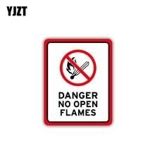 YJZT 8.7CM*11CM Warning Car Sticker PVC Accessories No Open Flames Danger Decal 12-1514