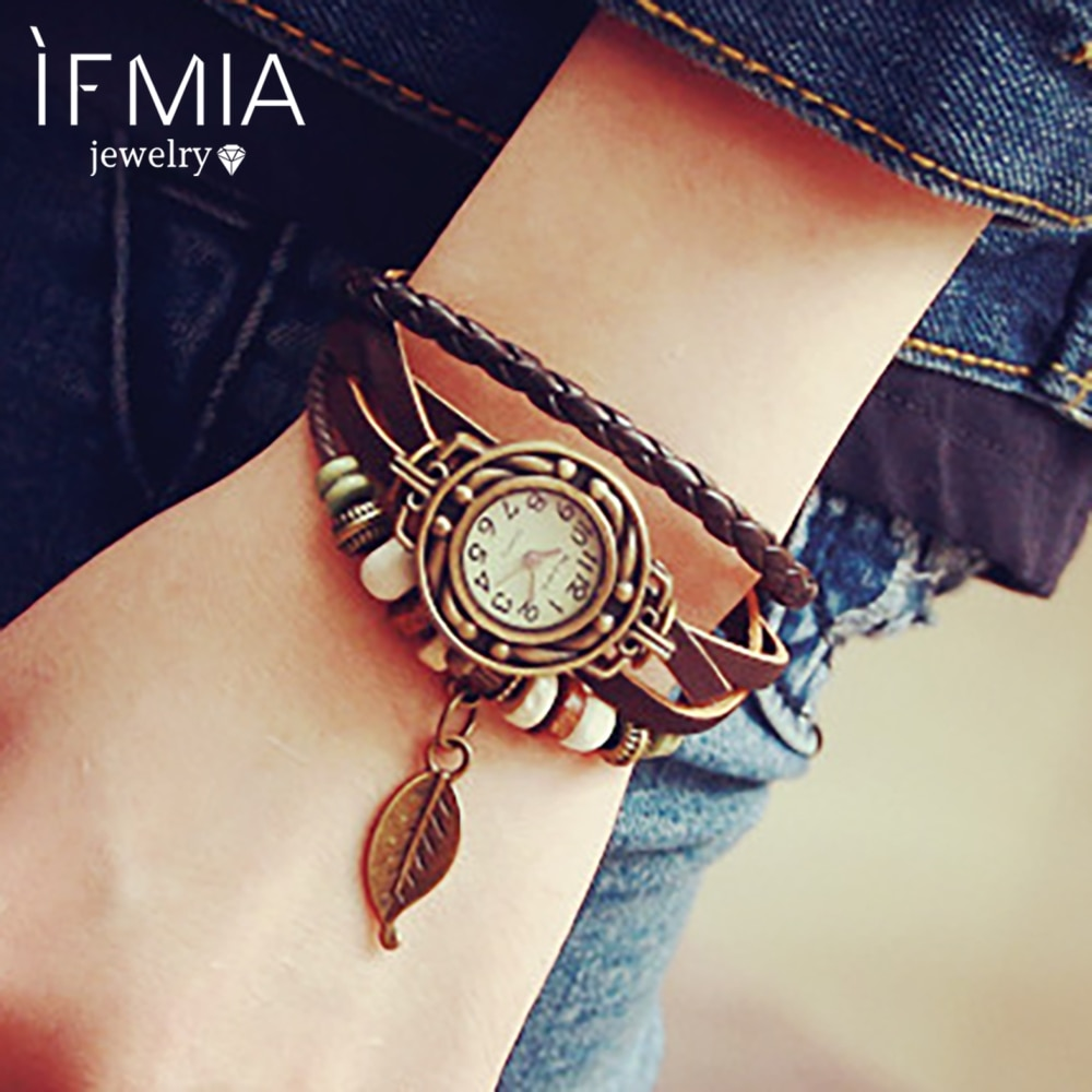 IFMIA 1PC Womens Bracelet Vintage Weave Wrap Quartz Leather Leaf Beads Wrist Watches PU Leather Brac