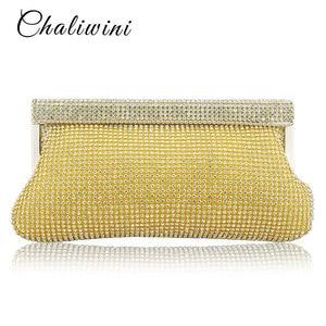 Gold Soft Rhinestones Clutch Bag Wedding Bridal Beaded Women Evening Bag Chain Shoulder Handbags Clutch Evening Bag
