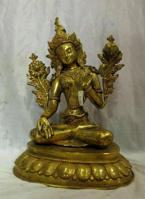 """Canción voge gema S6354 11 """"dorado Tíbet bronce, Budismo Flor de Loto Blanco Buda Tara escultura estatua"""