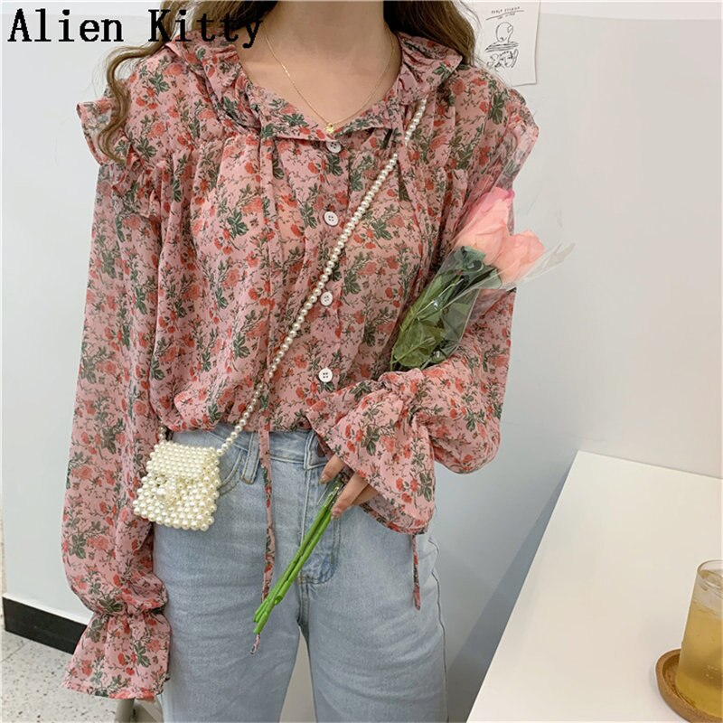 Alien Kitty  Sweet Casual Print Flowers Fairy Elegant Loose Simple Long Sleeves Fresh Female Free Shirt
