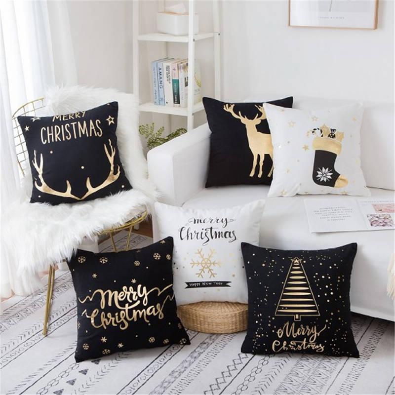 Funda de cojín de Navidad decorativa funda de almohada de lámina de oro funda de asiento de sofá de oro funda de almohada suave para coche