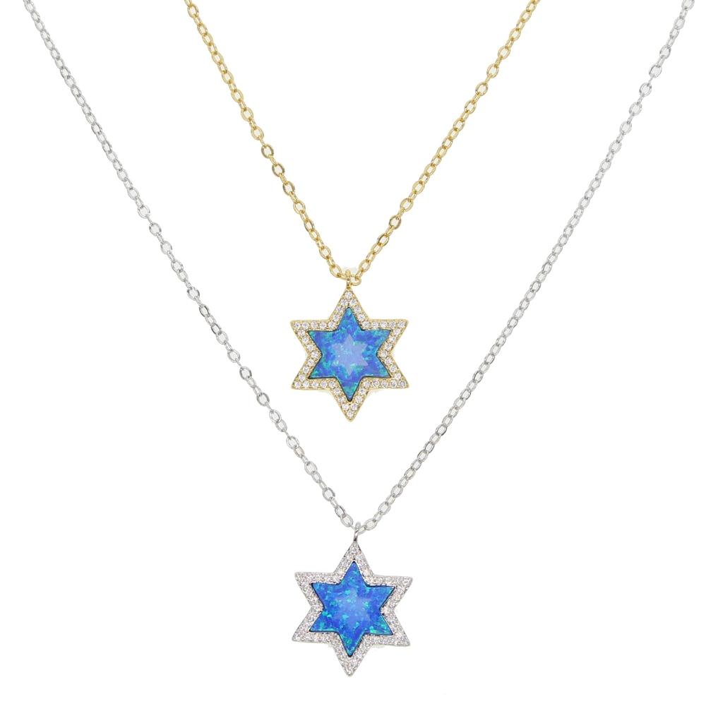 Ожерелье с синим огненным опалом, рождественский подарок, летнее ожерелье с морской звездой, натуральный камень, дизайн, высокое качество, м...