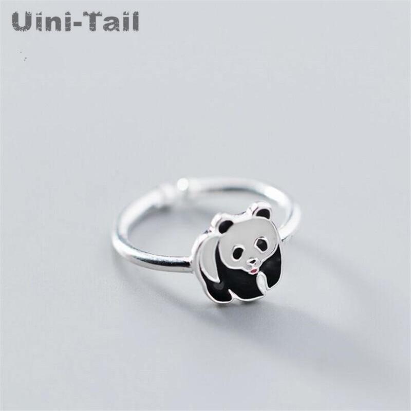 Uini-tail prata esterlina 925, prata de lei bonita, panda, anel ajustável, moderno, doce, tesouro nacional