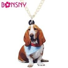 Bonsny acrylique écharpe Basset chien collier pendentif chaîne Choker mode bijoux pour femmes filles adolescents animaux accessoires Pet