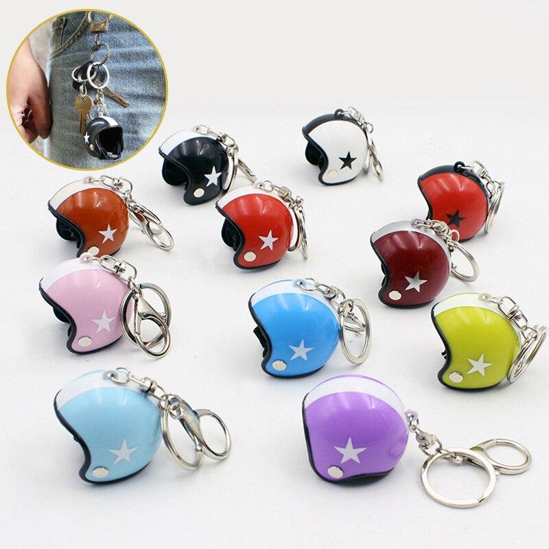 Motorcycle Helmet Keychain Pendant Creative Cute Safety Car Key Chain Toy Key Ring for Kids Women Bag Jewelry Trinket